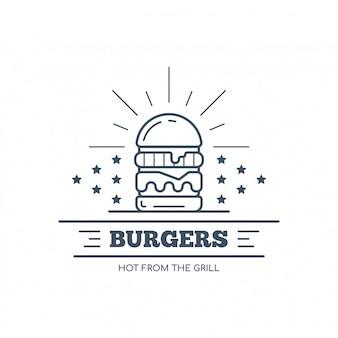 Diseño de placa de hamburguesas, ilustración de arte de línea vectorial