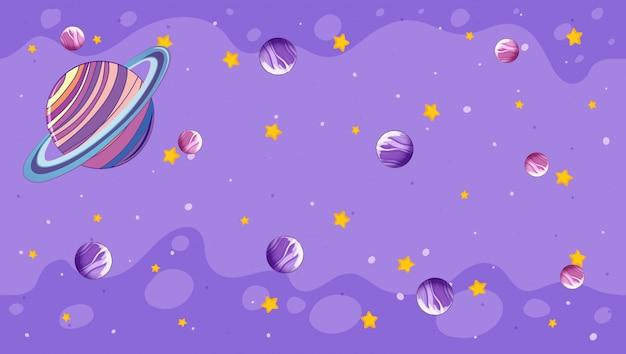 Diseño con planetas en violeta