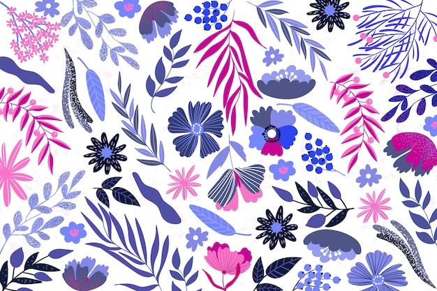 Diseño plano abstracto fondo floral