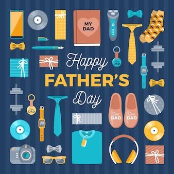 Diseño plano accesorios para hombre del día del padre