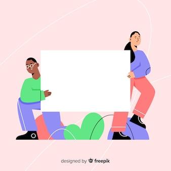 Diseño plano de adolescentes sosteniendo banner en blanco