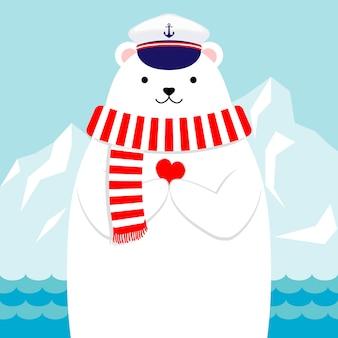 Diseño plano, adorable oso polar náutico