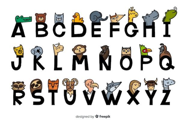 Diseño plano del alfabeto animal