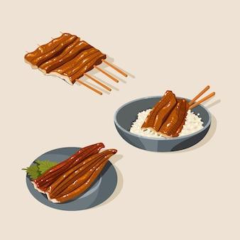 Diseño plano anguila a la parrilla cocina japonesa