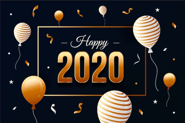 Diseño plano año nuevo 2020 fondo de pantalla