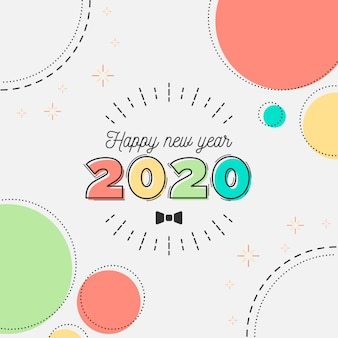 Diseño plano año nuevo 2020 fondo