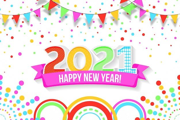 Diseño plano año nuevo 2021