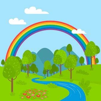 Diseño plano del arco iris con río