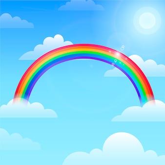 Diseño plano arcoiris en el cielo