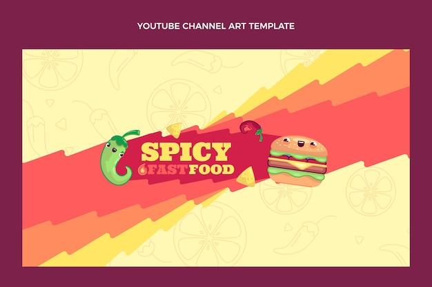 Diseño plano del arte del canal de youtube de comida.
