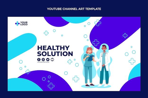 Diseño plano del arte médico del canal de youtube.