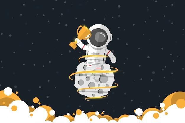 Diseño plano, el astronauta sostiene un trofeo de oro mientras está sentado en la luna con humo de color dorado, ilustración vectorial, elemento de infografía