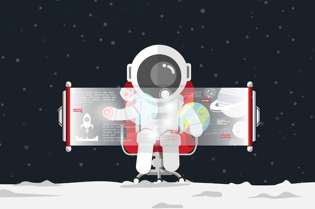 Diseño plano, el astronauta toca el control en la pantalla virtual mientras está sentado en la silla de oficina roja