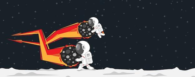 Diseño plano, astronautas rompiendo meteoritos cayendo en el planeta, ilustración vectorial, elemento de infografía