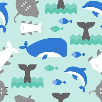 Diseño plano de ballena