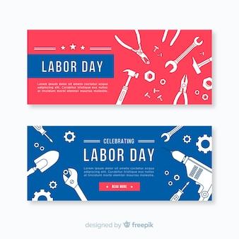 Diseño plano de la bandera del día del trabajo