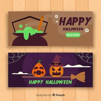 Diseño plano de banner de halloween