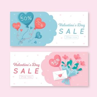 Diseño plano para banner de venta del día de san valentín