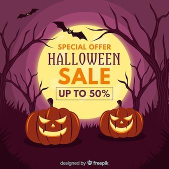 Diseño plano de banner de venta de halloween