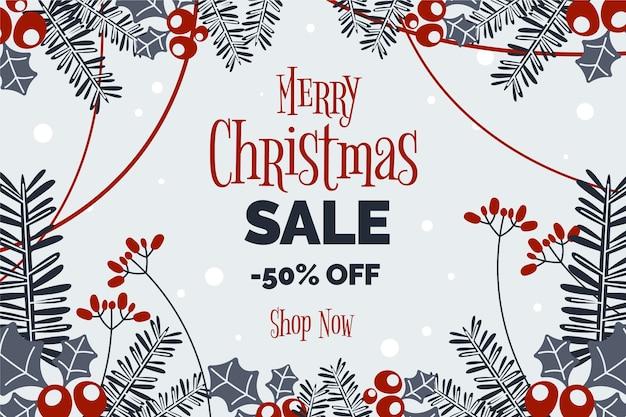 Diseño plano banner venta de navidad
