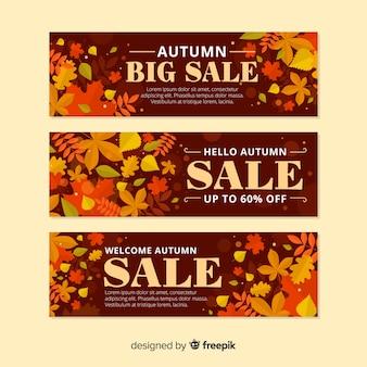 Diseño plano de banner de venta de otoño