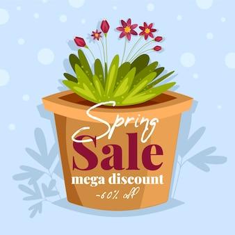 Diseño plano banner venta de primavera mega descuento