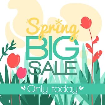 Diseño plano de banner de venta de primavera