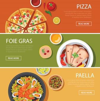 Diseño plano de banner web de comida popular, pizza, foie gras, paella