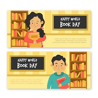 Diseño plano de banners del día mundial del libro