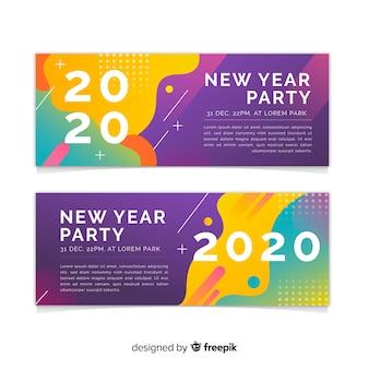 Diseño plano de banners de fiesta de año nuevo 2020