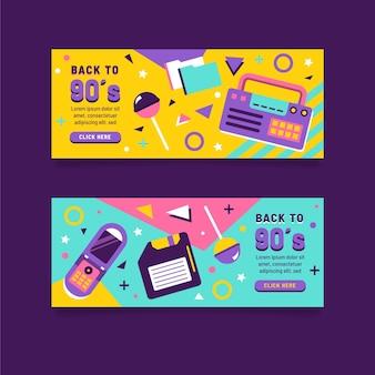 Diseño plano de banners nostálgicos de los 90.
