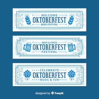 Diseño plano de banners de oktoberfest retro