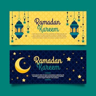 Diseño plano de banners de ramadán