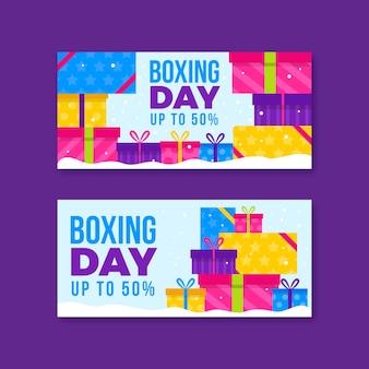Diseño plano de banners de venta de día de boxeo