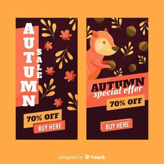 Diseño plano de banners de venta otoño