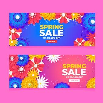 Diseño plano de banners de venta de primavera colorida