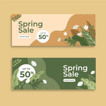 Diseño plano de banners de venta de primavera