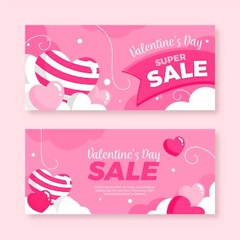 Diseño plano de banners de venta de san valentín