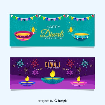 Diseño plano de banners web diwali