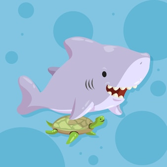 Diseño plano de bebé tiburón