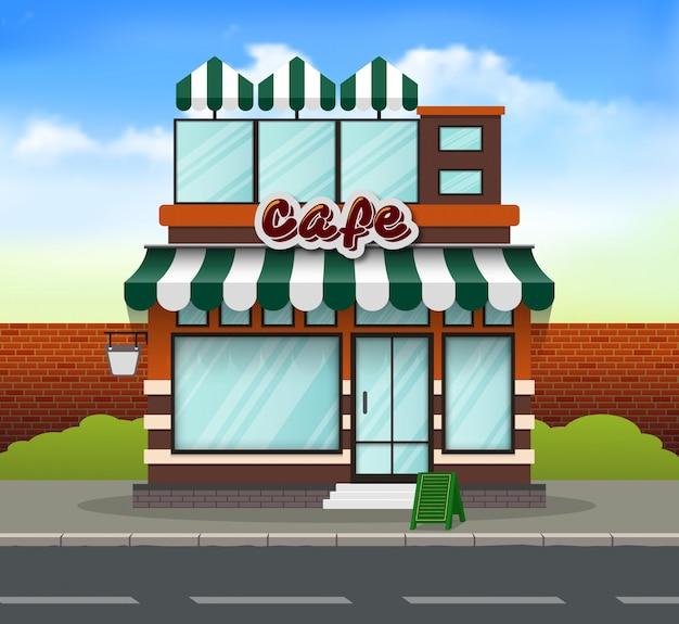 Diseño plano cafe tienda frente