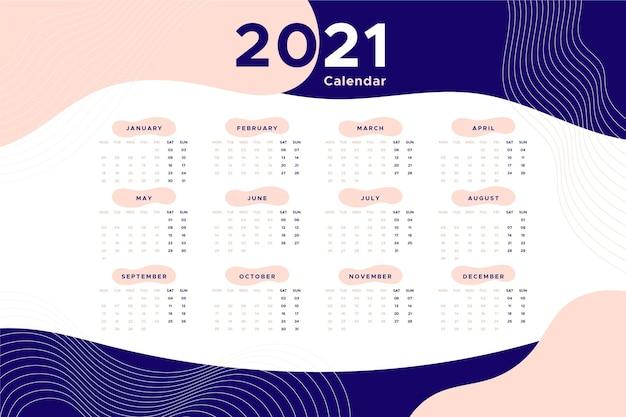 Diseño plano calendario año nuevo 2021