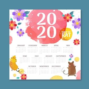 Diseño plano del calendario del año nuevo chino