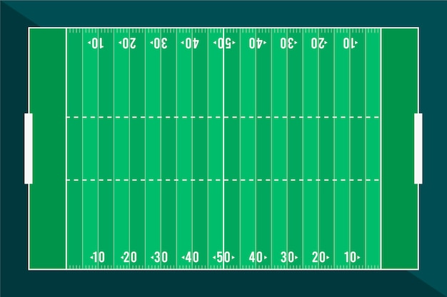 Diseño plano campo de fútbol americano plano lay