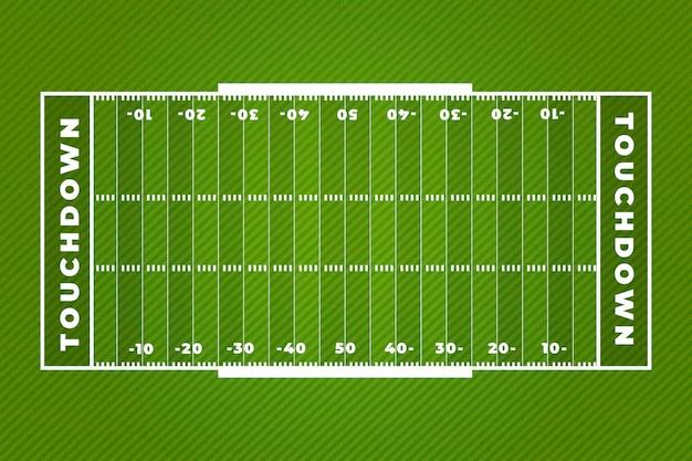 Diseño plano del campo de fútbol americano touchdown