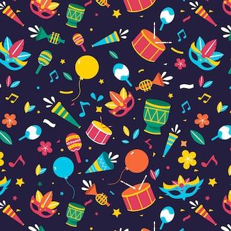 Diseño plano carnaval brasileño patrón de colores