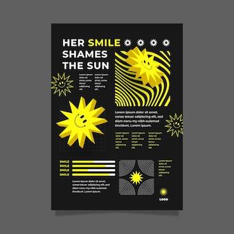 Diseño plano de cartel emoji ácido