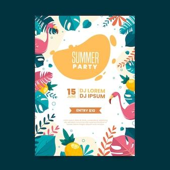 Diseño plano del cartel de la fiesta de verano