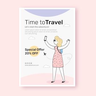 Diseño plano de cartel de viaje.