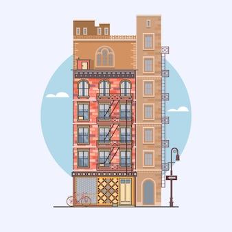 Diseño plano de casas de ciudad retro y modernas. elementos para la construcción de paisajes urbanos